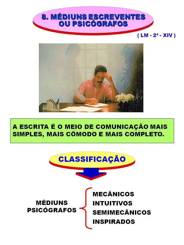 8. MÉDIUNS ESCREVENTES OU PSICÓGRAFOS ( LM - 2ª - XIV ) MÉDIUNS PSICÓGRAFOS CLASSIFICAÇÃO A ESCRITA É O MEIO DE COMUNICAÇÃO MAIS SIMPLES, MAIS CÔMODO