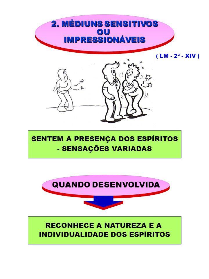 2. MÉDIUNS SENSITIVOS OUIMPRESSIONÁVEIS ( LM - 2ª - XIV ) SENTEM A PRESENÇA DOS ESPÍRITOS - SENSAÇÕES VARIADAS QUANDO DESENVOLVIDA RECONHECE A NATUREZ