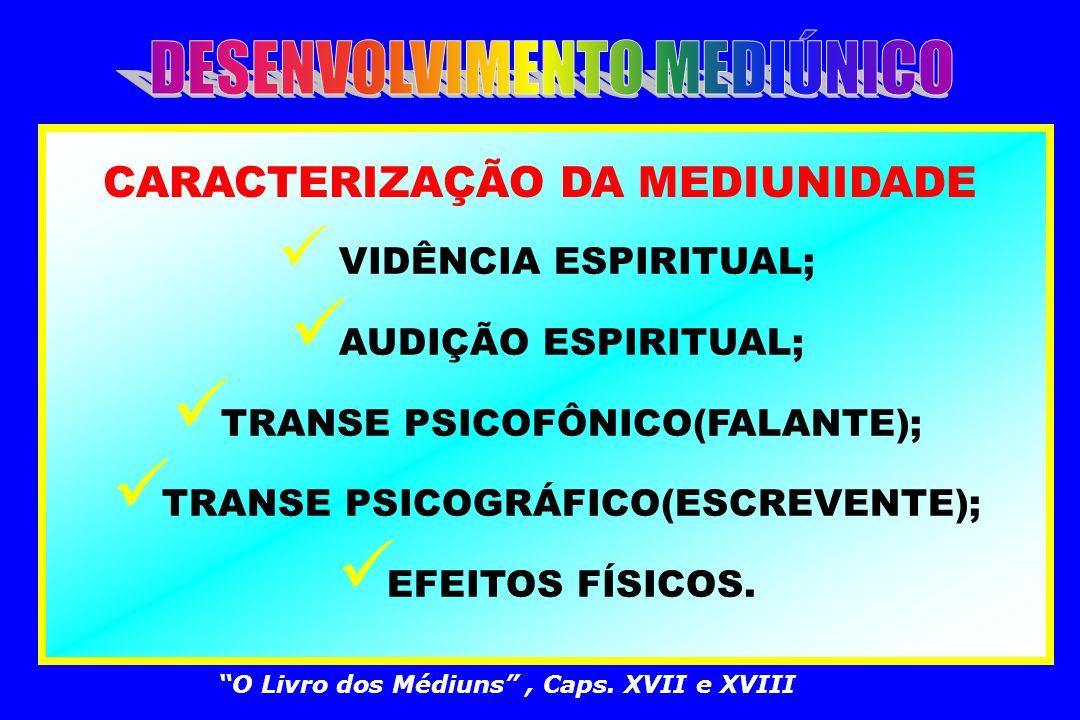 CONCEITO DE MEDIUNIDADE FACULDADE NATURAL QUE PERMITE SENTIR E TRANSMITIR A INFLUÊNCIA DOS ESPÍRITOS, ENSEJANDO O INTERCÂMBIO, A COMUNICAÇÃO, ENTRE O