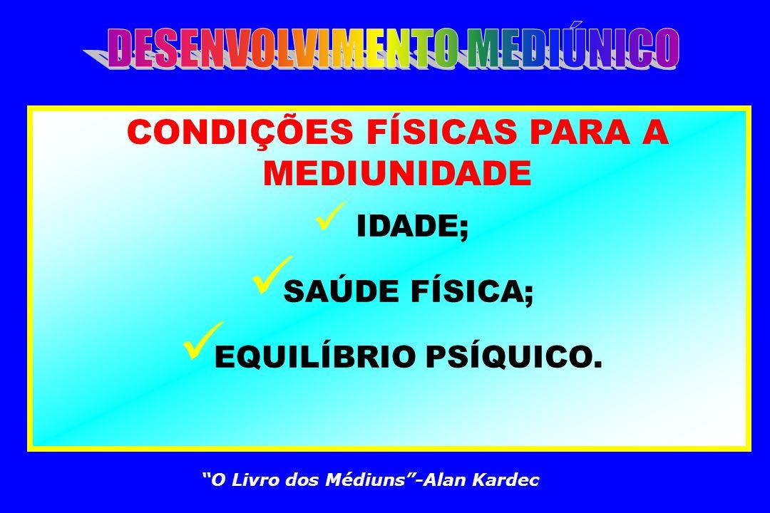 CARACTERIZAÇÃO DA MEDIUNIDADE VIDÊNCIA ESPIRITUAL; AUDIÇÃO ESPIRITUAL; TRANSE PSICOFÔNICO(FALANTE); TRANSE PSICOGRÁFICO(ESCREVENTE); EFEITOS FÍSICOS.