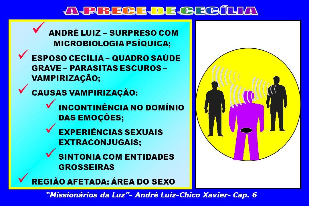 ANDRÉ LUIZ – SURPRESO COM MICROBIOLOGIA PSÍQUICA; ESPOSO CECÍLIA – QUADRO SAÚDE GRAVE – PARASITAS ESCUROS – VAMPIRIZAÇÃO; CAUSAS VAMPIRIZAÇÃO: INCONTINÊNCIA NO DOMÍNIO DAS EMOÇÕES; EXPERIÊNCIAS SEXUAIS EXTRACONJUGAIS; SINTONIA COM ENTIDADES GROSSEIRAS REGIÃO AFETADA: ÁREA DO SEXO Missionários da Luz- André Luiz-Chico Xavier- Cap.