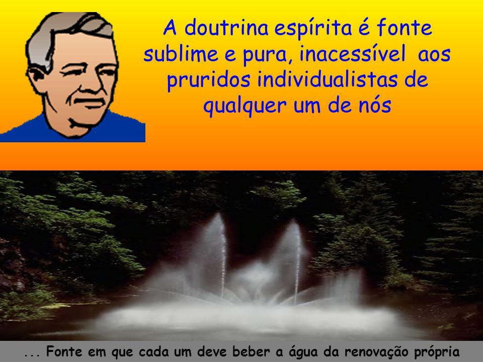 A doutrina espírita é fonte sublime e pura, inacessível aos pruridos individualistas de qualquer um de nós... Fonte em que cada um deve beber a água d