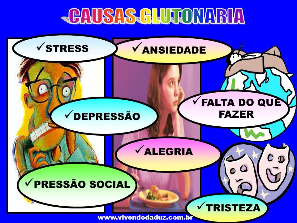www.vivendodaduz.com.br T RISTEZA A NSIEDADE D EPRESSÃO F ALTA DO QUE FAZER A LEGRIA P RESSÃO SOCIAL S TRESS