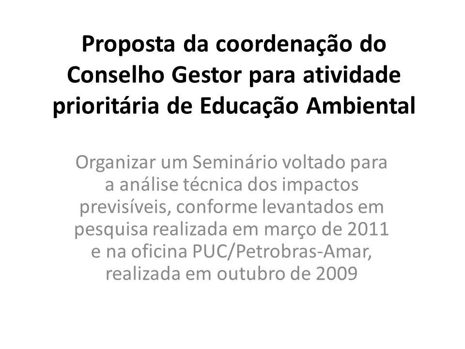 Proposta da coordenação do Conselho Gestor para atividade prioritária de Educação Ambiental Organizar um Seminário voltado para a análise técnica dos