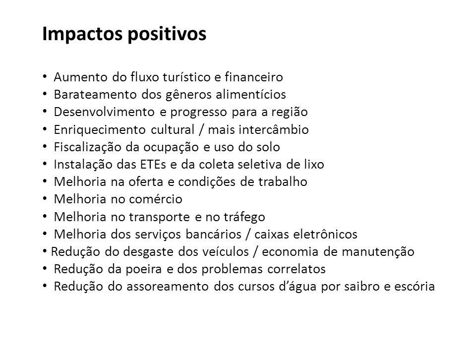Impactos positivos Aumento do fluxo turístico e financeiro Barateamento dos gêneros alimentícios Desenvolvimento e progresso para a região Enriquecime
