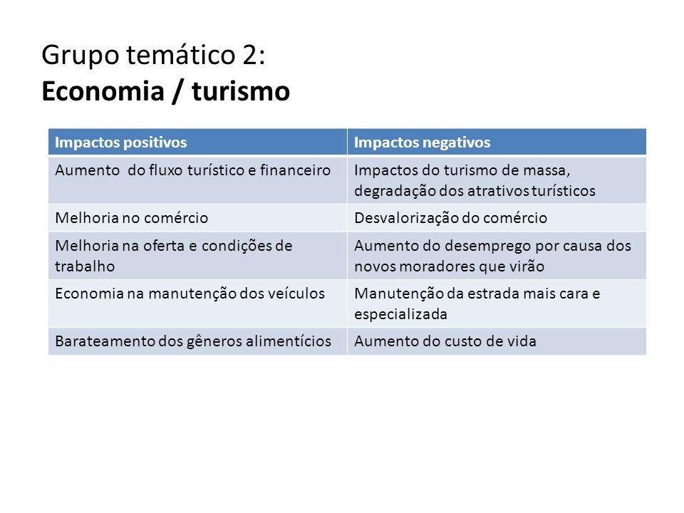 Grupo temático 2: Economia / turismo Impactos positivosImpactos negativos Aumento do fluxo turístico e financeiroImpactos do turismo de massa, degrada