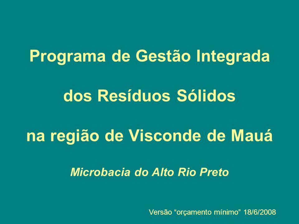Programa de Gestão Integrada dos Resíduos Sólidos na região de Visconde de Mauá Microbacia do Alto Rio Preto Versão orçamento mínimo 18/6/2008