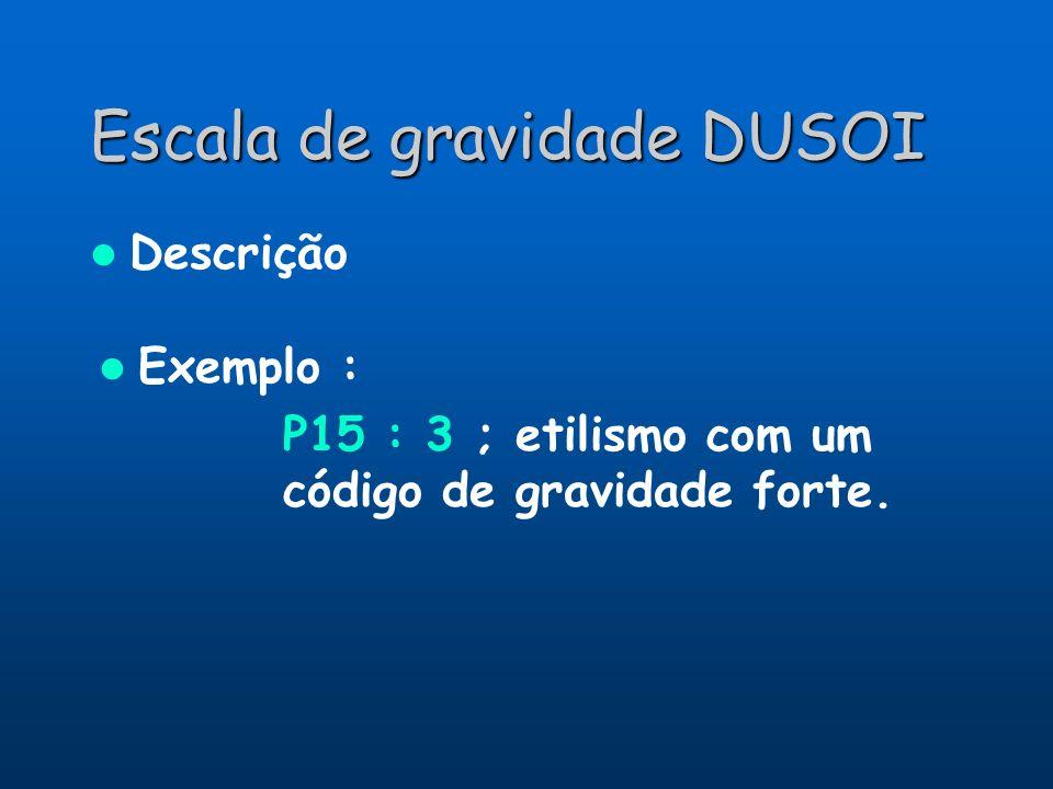 Escala de gravidade DUSOI Descrição Exemplo : P15 : 3 ; etilismo com um código de gravidade forte.