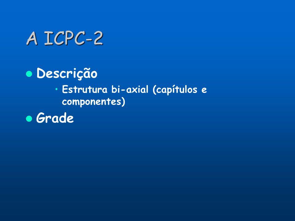 A ICPC-2 Descrição Estrutura bi-axial (capítulos e componentes) Grade