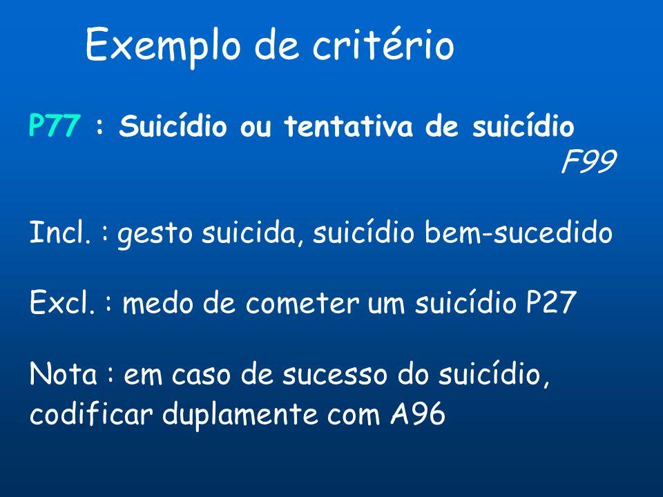 P77 : Suicídio ou tentativa de suicídio F99 Incl. : gesto suicida, suicídio bem-sucedido Excl. : medo de cometer um suicídio P27 Nota : em caso de suc