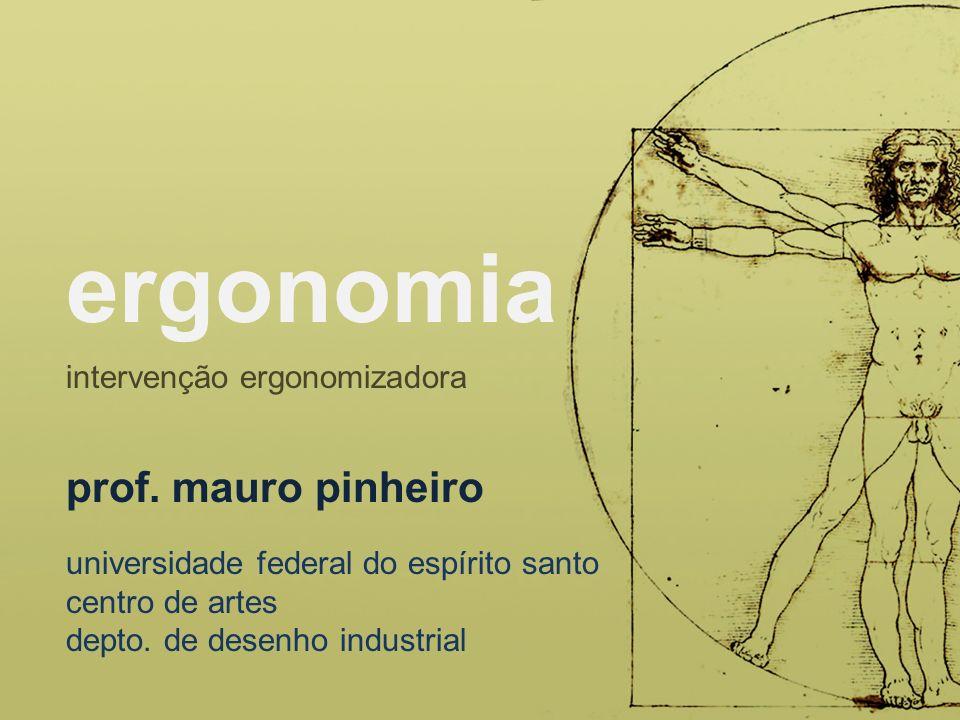 Divide-se em: apreciação ergonômica diagnose ergonômica projetação ergonômica avaliação, validação e/ou testes ergonômicos detalhamento ergonômico e otimização Moraes e Montalvão, 2009, p.80