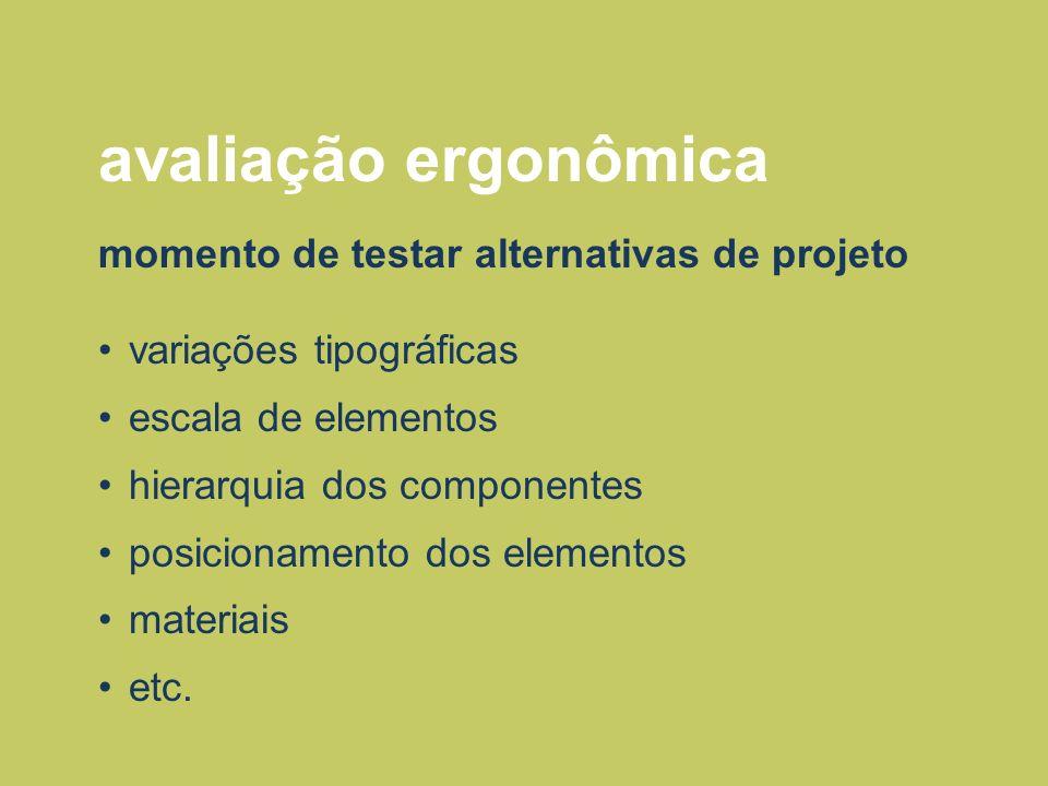 avaliação ergonômica momento de testar alternativas de projeto variações tipográficas escala de elementos hierarquia dos componentes posicionamento do