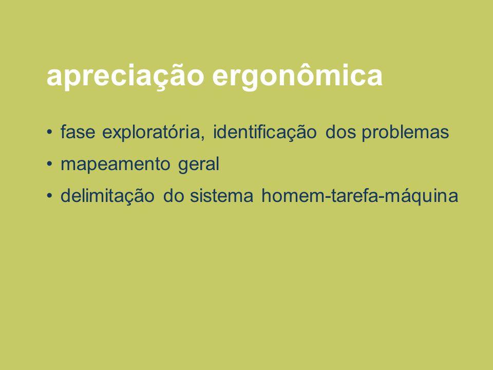 apreciação ergonômica fase exploratória, identificação dos problemas mapeamento geral delimitação do sistema homem-tarefa-máquina