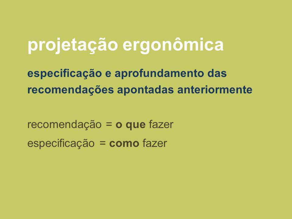 projetação ergonômica especificação e aprofundamento das recomendações apontadas anteriormente recomendação = o que fazer especificação = como fazer