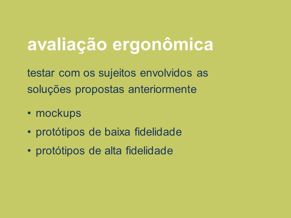 avaliação ergonômica momento de testar alternativas de projeto variações tipográficas escala de elementos hierarquia dos componentes posicionamento dos elementos materiais etc.