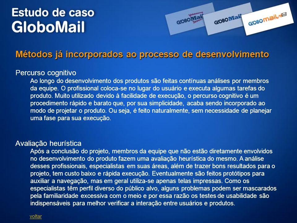 Métodos já incorporados ao processo de desenvolvimento Percurso cognitivo Ao longo do desenvolvimento dos produtos são feitas contínuas análises por m