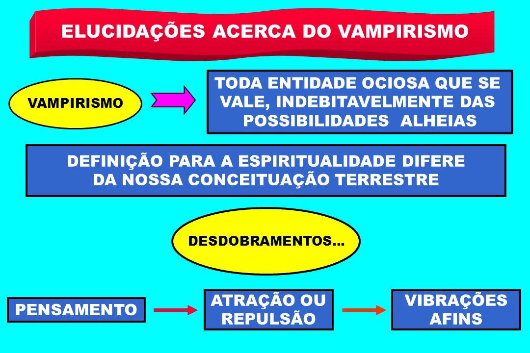 ELUCIDAÇÕES ACERCA DO VAMPIRISMO VAMPIRISMO TODA ENTIDADE OCIOSA QUE SE VALE, INDEBITAVELMENTE DAS POSSIBILIDADES ALHEIAS DEFINIÇÃO PARA A ESPIRITUALI