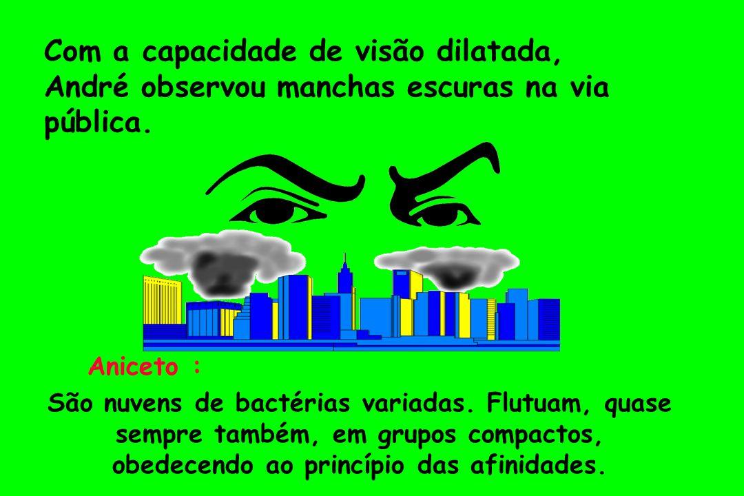 Com a capacidade de visão dilatada, André observou manchas escuras na via pública. Aniceto : São nuvens de bactérias variadas. Flutuam, quase sempre t