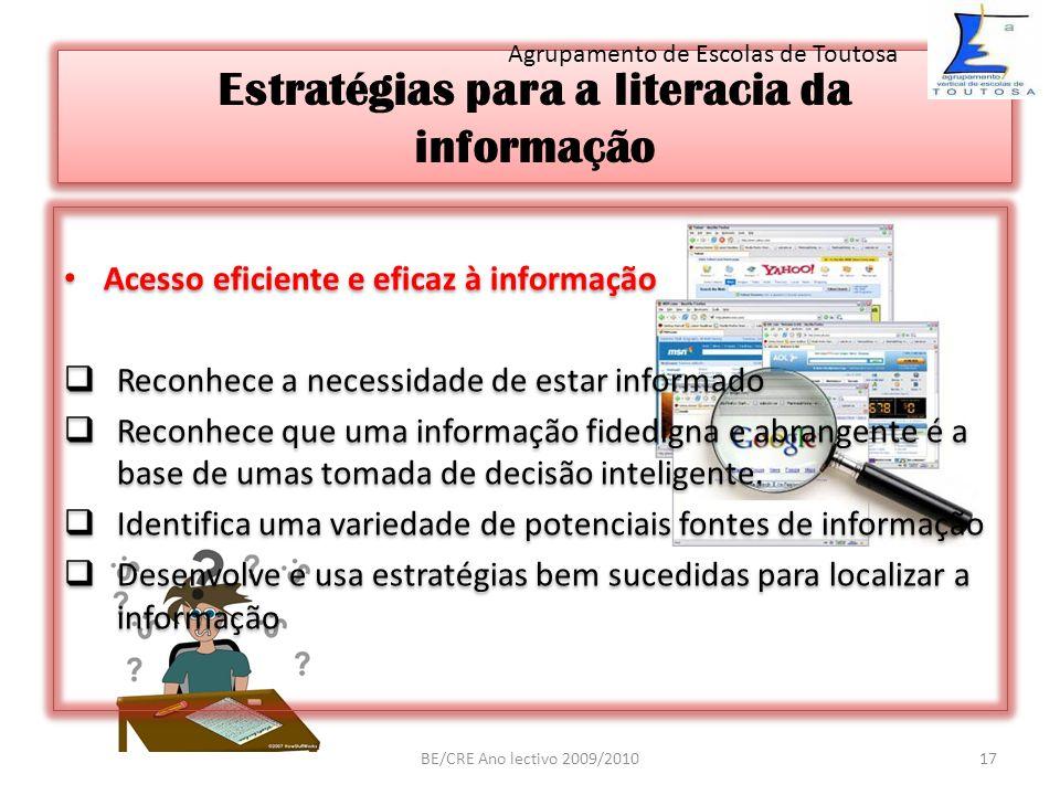 Estratégias para a literacia da informação Acesso eficiente e eficaz à informação Reconhece a necessidade de estar informado Reconhece que uma informa