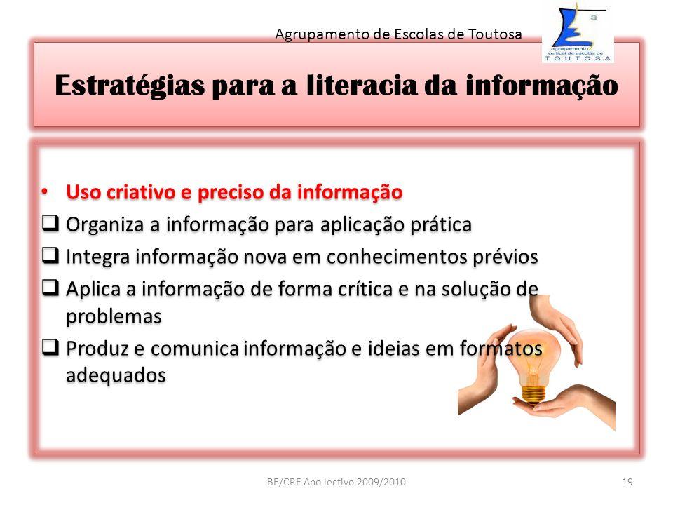 Estratégias para a literacia da informação Uso criativo e preciso da informação Organiza a informação para aplicação prática Integra informação nova e