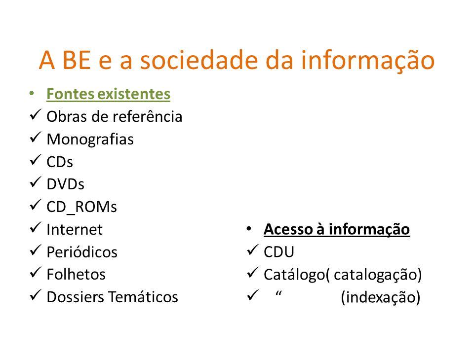 A BE e a sociedade da informação Fontes existentes Obras de referência Monografias CDs DVDs CD_ROMs Internet Periódicos Folhetos Dossiers Temáticos Ac