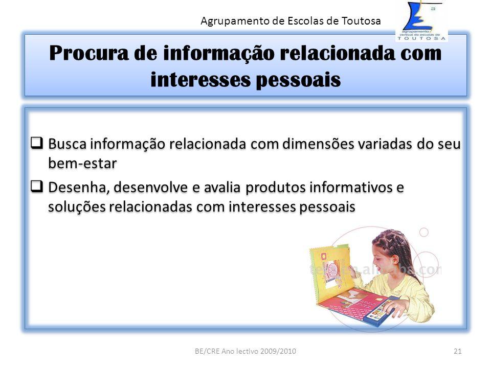 Procura de informação relacionada com interesses pessoais Busca informação relacionada com dimensões variadas do seu bem-estar Desenha, desenvolve e a