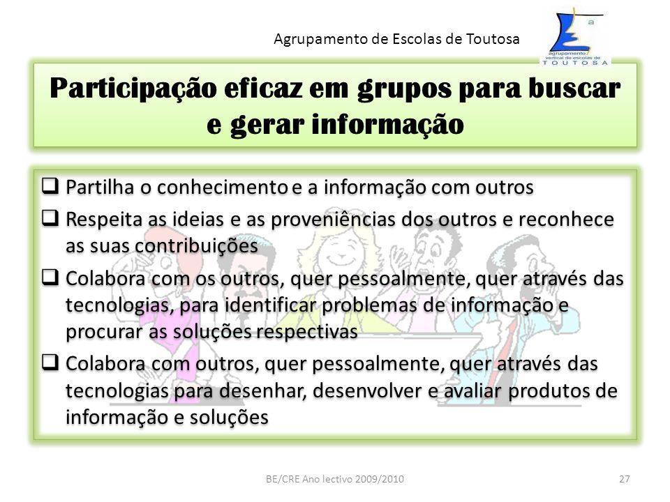 Participação eficaz em grupos para buscar e gerar informação Partilha o conhecimento e a informação com outros Respeita as ideias e as proveniências d