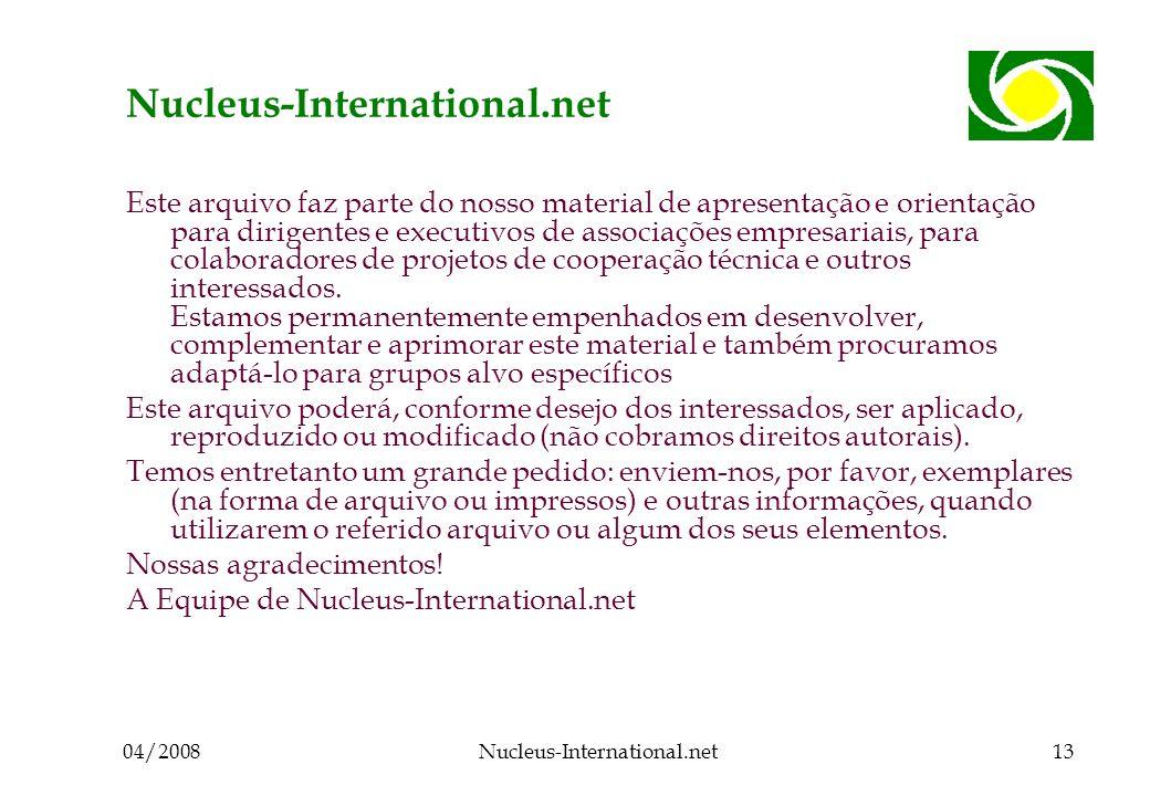 04/2008Nucleus-International.net13 Nucleus-International.net Este arquivo faz parte do nosso material de apresentação e orientação para dirigentes e executivos de associações empresariais, para colaboradores de projetos de cooperação técnica e outros interessados.