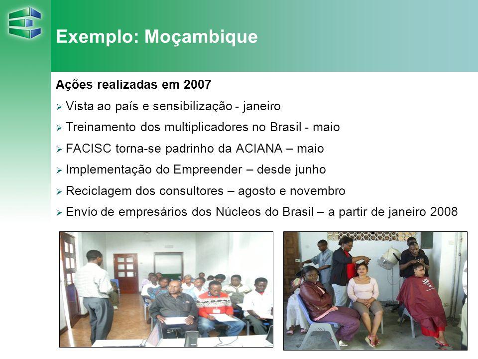 15 Exemplo: Moçambique Ações realizadas em 2007 Vista ao país e sensibilização - janeiro Treinamento dos multiplicadores no Brasil - maio FACISC torna