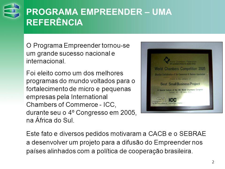 3 INTERNACIONALIZAÇÃO DO PROGRAMA EMPREENDER Objetivo geral Entidades de classe em países selecionados apóiam de forma sustentável as micro e pequenas empresas, usando os instrumentos do Programa Empreender.