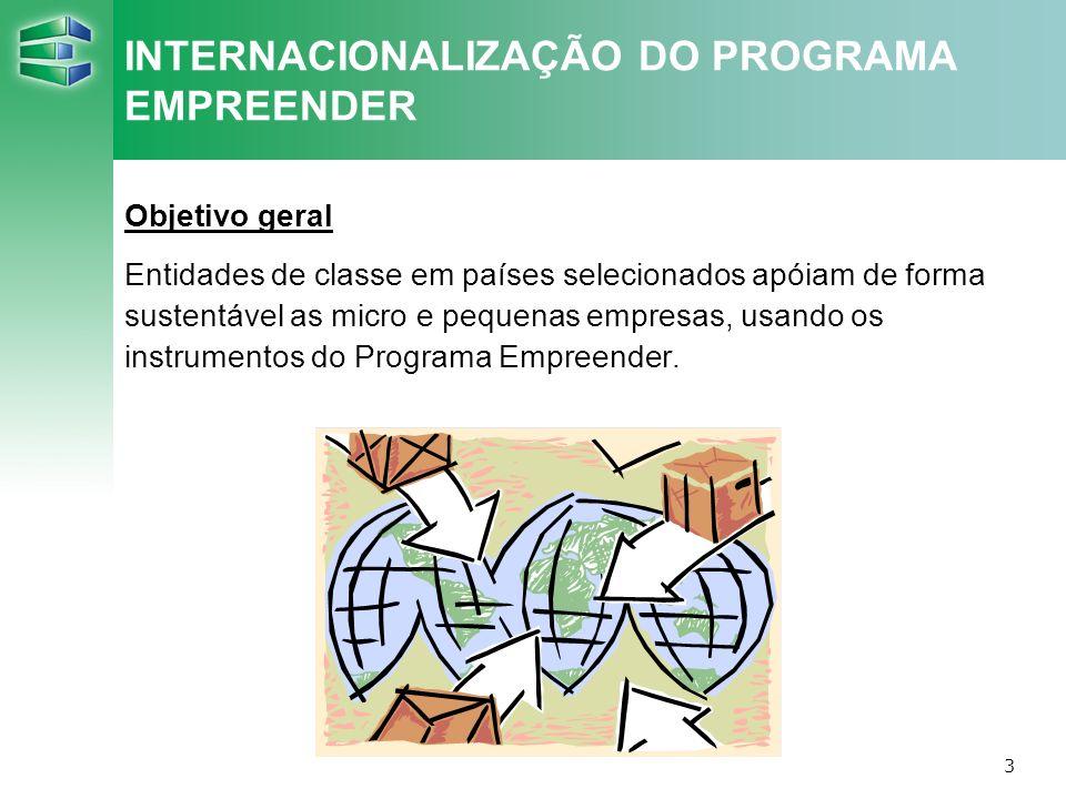 3 INTERNACIONALIZAÇÃO DO PROGRAMA EMPREENDER Objetivo geral Entidades de classe em países selecionados apóiam de forma sustentável as micro e pequenas