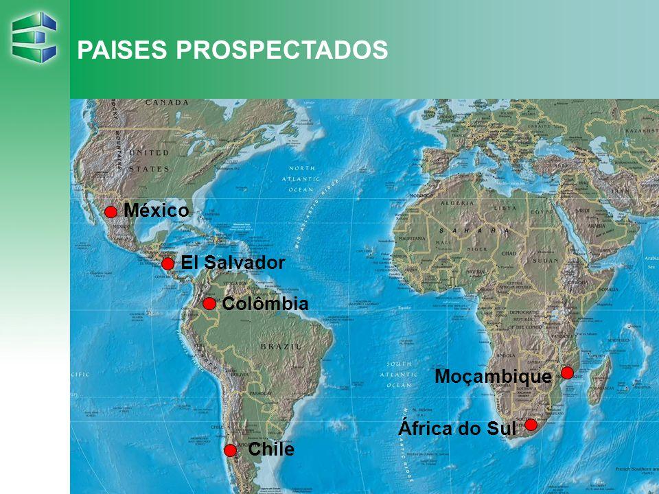 7 PAISES PROSPECTADOS África do Sul Moçambique México El Salvador Colômbia Chile