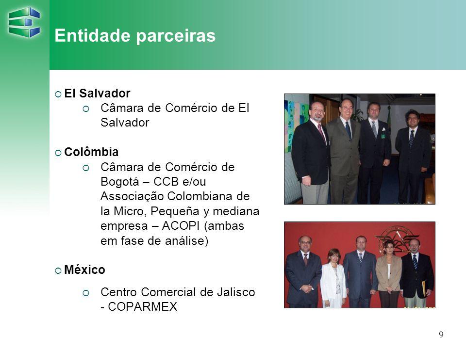 9 Entidade parceiras El Salvador Câmara de Comércio de El Salvador Colômbia Câmara de Comércio de Bogotá – CCB e/ou Associação Colombiana de la Micro,
