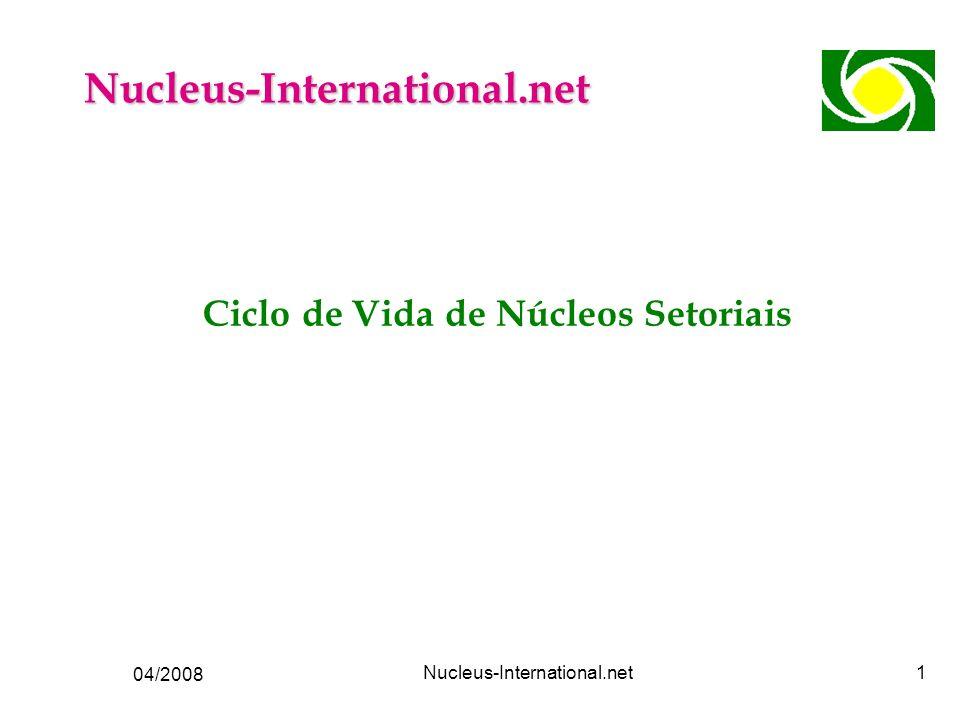 04/2008 Nucleus-International.net2 Ciclo de Vida de Núcleos Organismos Vivos Tempo Nível de Atividade Crescimento Maturidade Esgotamento Morte Nascimento