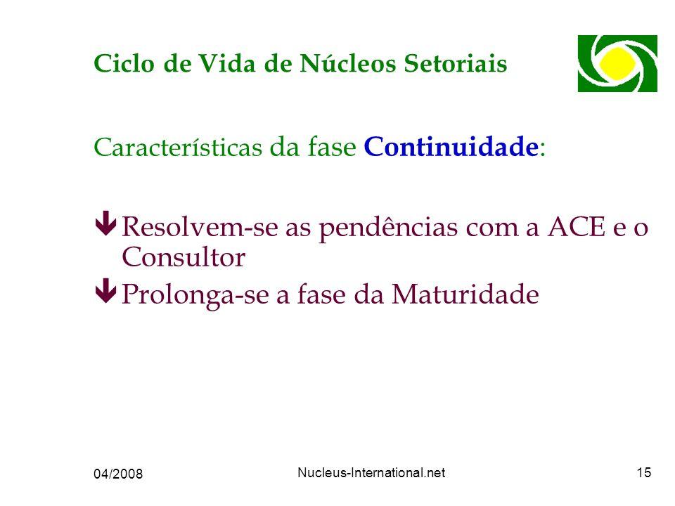 04/2008 Nucleus-International.net15 Características da fase Continuidade : êResolvem-se as pendências com a ACE e o Consultor êProlonga-se a fase da Maturidade Ciclo de Vida de Núcleos Setoriais