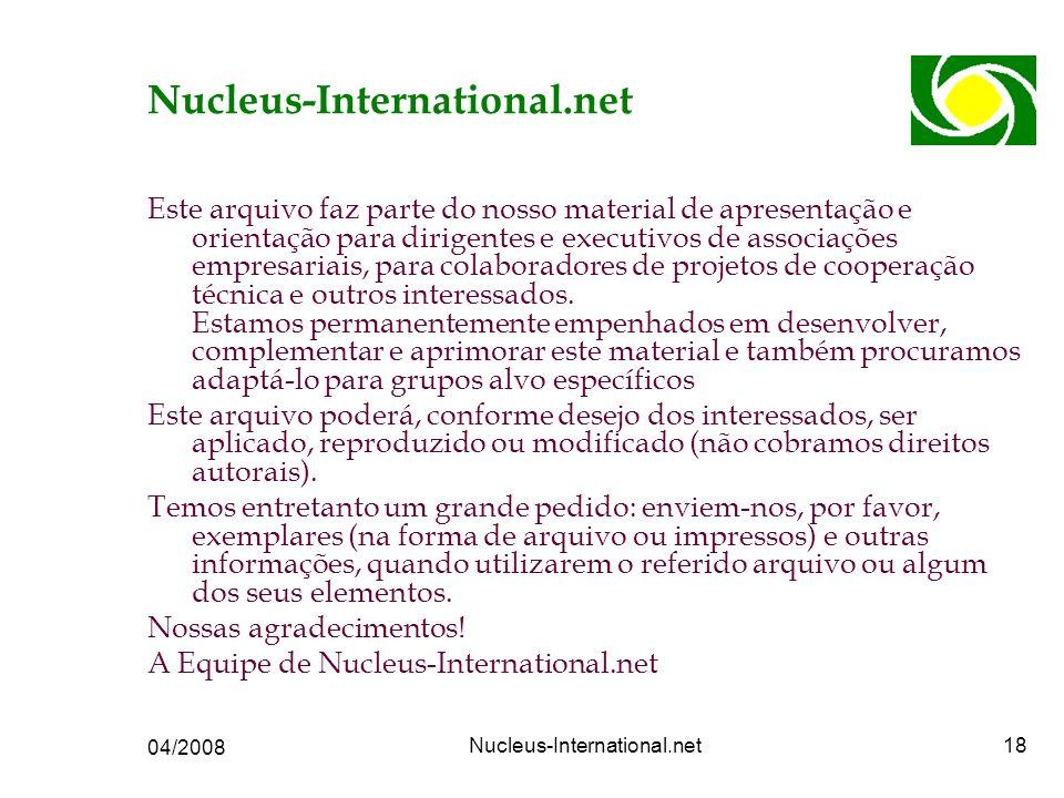 04/2008 Nucleus-International.net18 Nucleus-International.net Este arquivo faz parte do nosso material de apresentação e orientação para dirigentes e executivos de associações empresariais, para colaboradores de projetos de cooperação técnica e outros interessados.