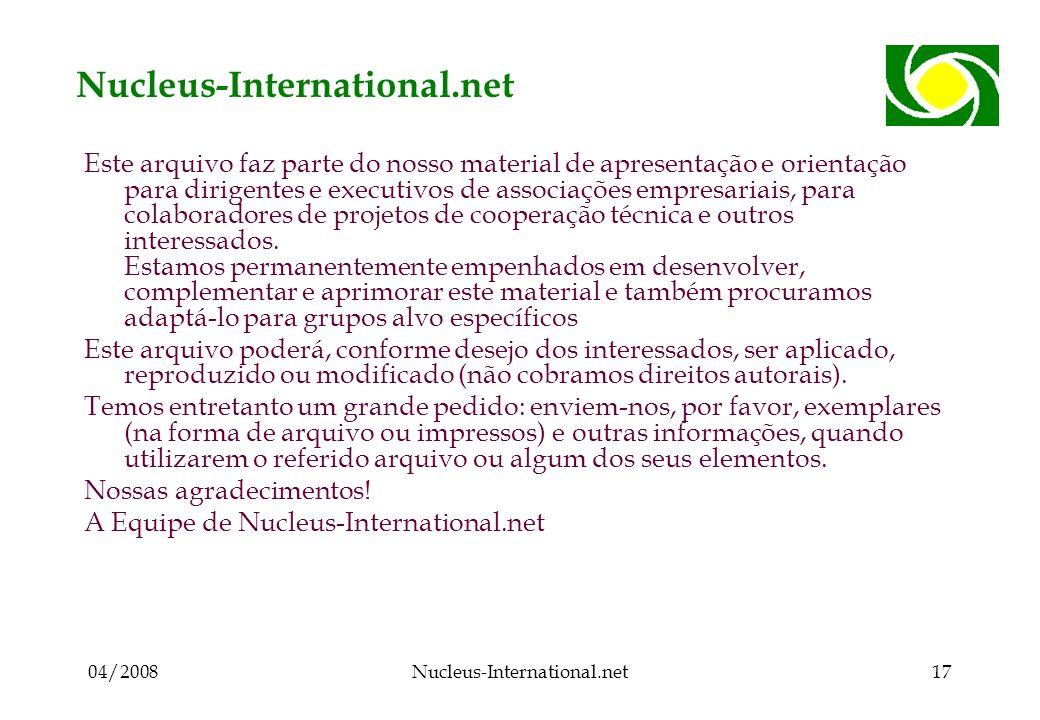 04/2008Nucleus-International.net17 Nucleus-International.net Este arquivo faz parte do nosso material de apresentação e orientação para dirigentes e executivos de associações empresariais, para colaboradores de projetos de cooperação técnica e outros interessados.