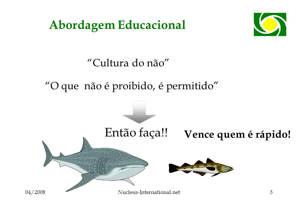 04/2008Nucleus-International.net3 Abordagem Educacional Cultura do não O que não é proibido, é permitido Então faça!! Vence quem é rápido!