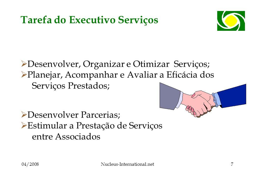 04/2008Nucleus-International.net7 Tarefa do Executivo Serviços Desenvolver, Organizar e Otimizar Serviços; Planejar, Acompanhar e Avaliar a Eficácia dos Serviços Prestados; Desenvolver Parcerias; Estimular a Prestação de Serviços entre Associados