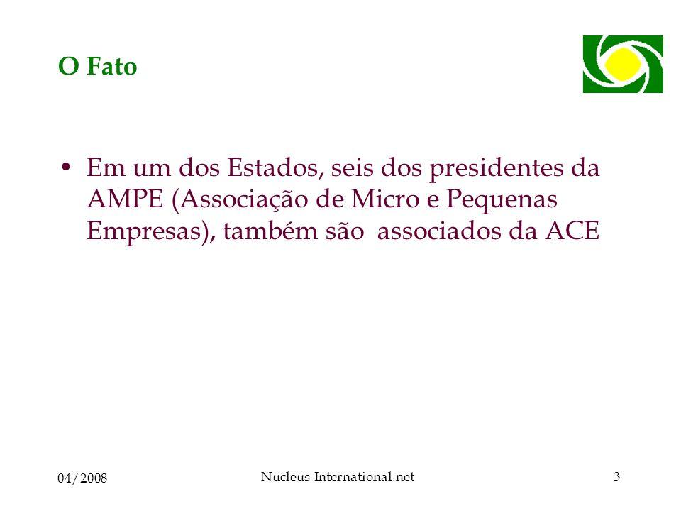 04/2008 Nucleus-International.net3 O Fato Em um dos Estados, seis dos presidentes da AMPE (Associação de Micro e Pequenas Empresas), também são associados da ACE