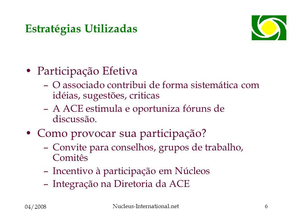04/2008 Nucleus-International.net6 Estratégias Utilizadas Participação Efetiva –O associado contribui de forma sistemática com idéias, sugestões, criticas –A ACE estimula e oportuniza fóruns de discussão.