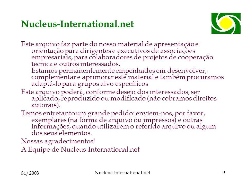 04/2008 Nucleus-International.net9 Este arquivo faz parte do nosso material de apresentação e orientação para dirigentes e executivos de associações empresariais, para colaboradores de projetos de cooperação técnica e outros interessados.
