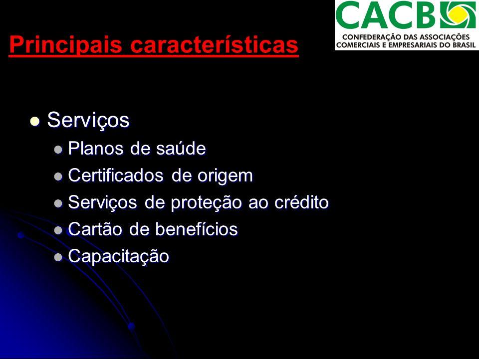Principais características Serviços Serviços Planos de saúde Planos de saúde Certificados de origem Certificados de origem Serviços de proteção ao crédito Serviços de proteção ao crédito Cartão de benefícios Cartão de benefícios Capacitação Capacitação