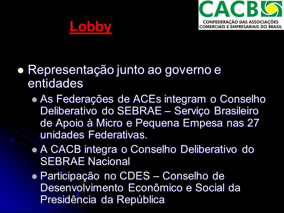 Lobby Representação junto ao governo e entidades Representação junto ao governo e entidades As Federações de ACEs integram o Conselho Deliberativo do SEBRAE – Serviço Brasileiro de Apoio à Micro e Pequena Empesa nas 27 unidades Federativas.