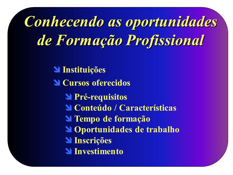 Conhecendo as oportunidades de Formação Profissional Instituições Cursos oferecidos Pré-requisitos Conteúdo / Características Tempo de formação Oportu