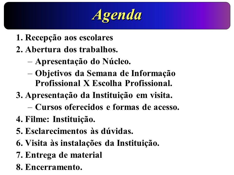 Agenda 1. Recepção aos escolares 2. Abertura dos trabalhos. –Apresentação do Núcleo. –Objetivos da Semana de Informação Profissional X Escolha Profiss