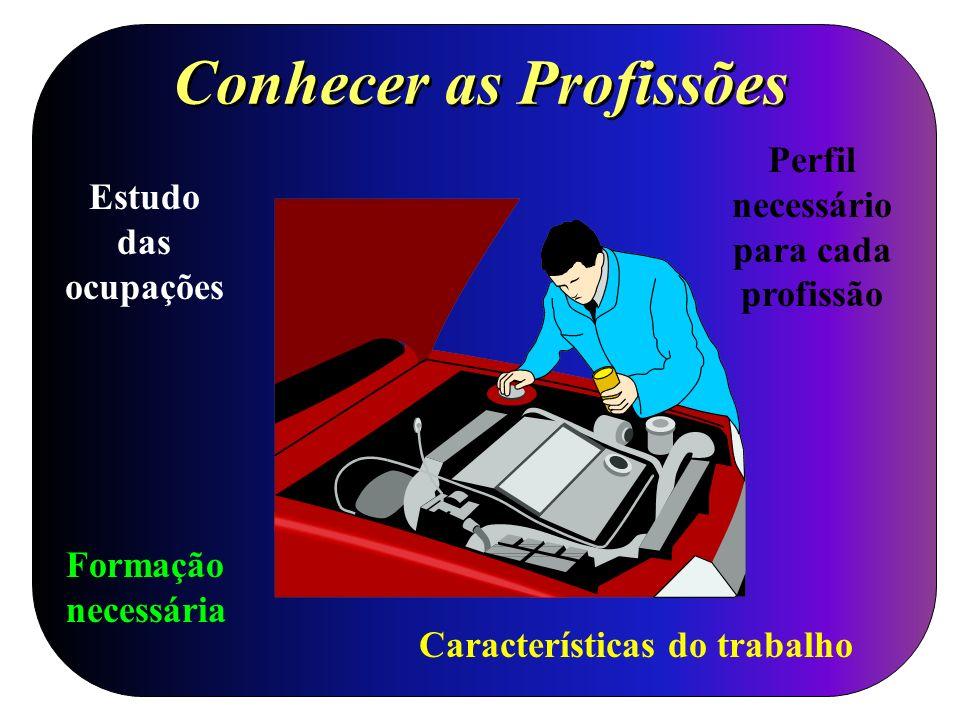 Conhecer as Profissões Estudo das ocupações Formação necessária Características do trabalho Perfil necessário para cada profissão