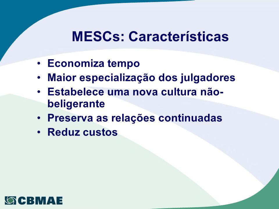 MESCs: Características Economiza tempo Maior especialização dos julgadores Estabelece uma nova cultura não- beligerante Preserva as relações continuadas Reduz custos
