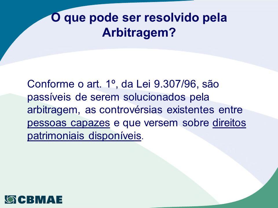 O que pode ser resolvido pela Arbitragem? Conforme o art. 1º, da Lei 9.307/96, são passíveis de serem solucionados pela arbitragem, as controvérsias e