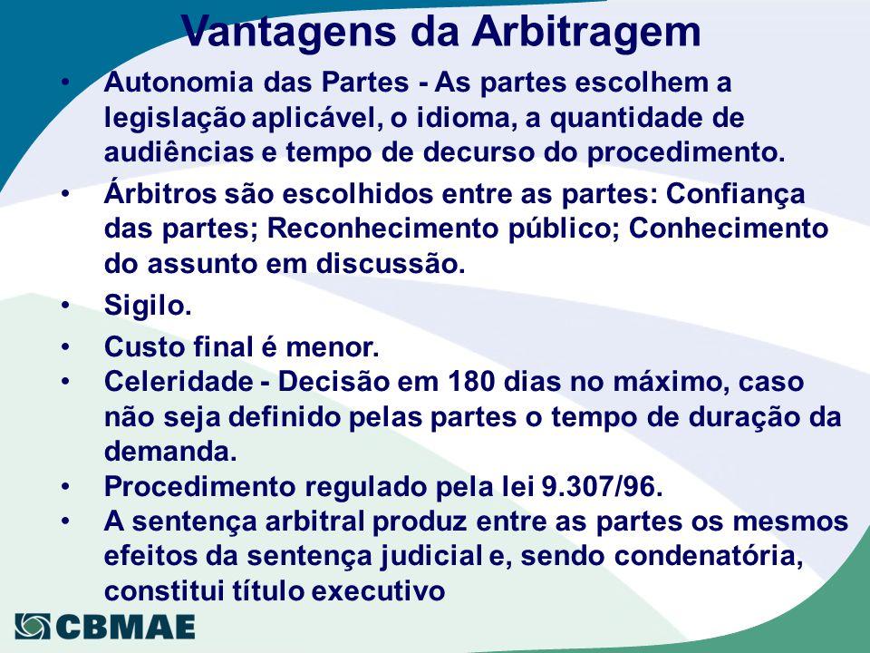 Vantagens da Arbitragem Autonomia das Partes - As partes escolhem a legislação aplicável, o idioma, a quantidade de audiências e tempo de decurso do p